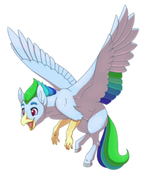 Size: 2800x3300 | Tagged: artist:jackiebloom, female, hippogriff, interspecies offspring, magical lesbian spawn, oc, oc only, oc:razor wind, offspring, parent:captain celaeno, parent:rainbow dash, safe, simple background, solo, transparent background