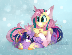 Size: 3000x2286 | Tagged: safe, artist:mediasmile666, fluttershy, twilight sparkle, alicorn, pegasus, pony, abstract background, big ears, cheek fluff, chest fluff, coat markings, colored horn, colored wings, colored wingtips, cute, duo, ear fluff, eye clipping through hair, female, horn, looking at each other, mare, one eye closed, pony pile, prone, rainbow power, socks (coat markings), speedpaint available, starry eyes, twilight sparkle (alicorn), wing fluff, wingding eyes