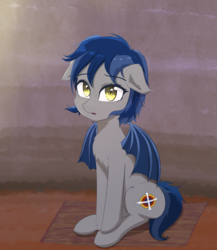 Size: 2000x2300 | Tagged: artist:yinglongfujun, bat pony, oc, oc:moorish delight, oc only, sad, safe, solo