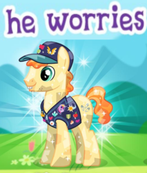 Size: 507x594 | Tagged: safe, crystal pony, earth pony, pony, clothes, gameloft, male, meme, pin, stallion, stubble, vest, worried, wow! glimmer