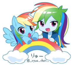 Size: 1384x1228 | Tagged: artist:ryuu, chibi, cute, dashabetes, equestria girls, equestria girls series, female, human, human ponidox, mare, pegasus, pony, rainbow, rainbow dash, safe, self ponidox, simple background, white background