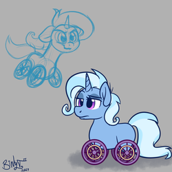 Size: 1700x1700 | Tagged: artist:binkyt11, atg 2019, female, gray background, mare, newbie artist training grounds, nyoom, original species, pony, safe, simple background, solo, species swap, trixie, unicorn, wheelpone, wheels trixie