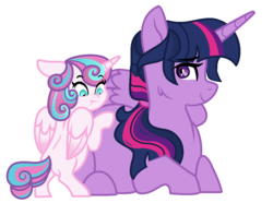 Size: 1092x812 | Tagged: alicorn, artist:rosebuddity, older, pony, pregnant, princess flurry heart, prone, safe, simple background, twilight sparkle, twilight sparkle (alicorn), white background