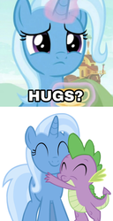 Size: 840x1636 | Tagged: safe, edit, edited screencap, editor:undeadponysoldier, screencap, spike, trixie, comic, female, hug, male, shipping, spikelove, spixie, straight, text