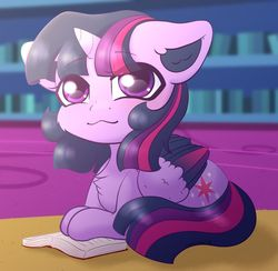 Size: 1024x999 | Tagged: safe, artist:kisaradoesart16, twilight sparkle, alicorn, pony, book, cheek fluff, chest fluff, chibi, colored ears, colored wings, cute, ear fluff, eye clipping through hair, eyebrows, eyebrows visible through hair, female, mare, multicolored wings, prone, smiling, solo, twiabetes, twilight sparkle (alicorn), twilight's castle, weapons-grade cute, wings