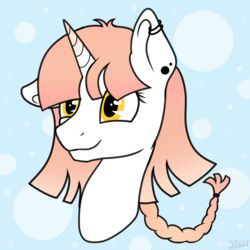 Size: 1500x1500 | Tagged: artist:jellyys, commision, oc, pony, safe, simple background, smiling, solo, unicorn, yellow eyes