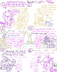 Size: 1280x1611 | Tagged: adorkable, adorkable twilight, alicorn, artist:adorkabletwilightandfriends, bandage, book, bouncing, cake, cat, comic, comic:adorkable twilight and friends, confused, cute, dork, food, funny, happy, humor, jumping, library, message, moondancer, oc, oc:pinenut, paper cut, pinkie pie, safe, slice of life, spike, starlight glimmer, twilight sparkle, twilight sparkle (alicorn)