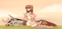 Size: 1652x781 | Tagged: artist:neythancake, beanbrows, chest fluff, cute, discord, discoshy, draconequus, ear fluff, eyebrows, eyes closed, female, fluttershy, hybrid, interspecies offspring, leg fluff, male, mare, oc, offspring, parent:discord, parent:fluttershy, parents:discoshy, pegasus, pony, prone, redesign, safe, shipping, straight