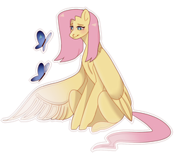 Size: 1351x1177 | Tagged: artist:borschhhhhhh, butterfly, female, fluttershy, looking at something, mare, one wing out, outline, pegasus, pony, safe, simple background, sitting, solo, three quarter view, white background, white outline, wings
