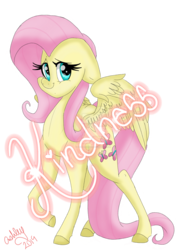 Size: 1280x1707 | Tagged: artist:fruitloops313, colored hooves, deviantart watermark, female, floppy ears, fluttershy, kindness, looking at you, mare, obtrusive watermark, pegasus, pony, raised hoof, safe, simple background, smiling, solo, spread wings, standing, three quarter view, transparent background, watermark, wings