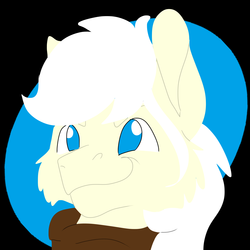 Size: 2000x2000 | Tagged: artist:euspuche, bust, earth pony, logo, oc, oc only, oc:pierrot fisher, pony, portrait, safe, smiling