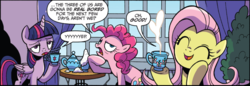 Size: 800x274 | Tagged: alicorn, artist:brendahickey, comic, cup, cute, fluttershy, idw, one of these things is not like the others, pinkie pie, safe, shyabetes, spoiler:comic, spoiler:comicspiritoftheforest02, teacup, twilight sparkle, twilight sparkle (alicorn)