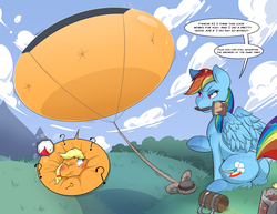 Size: 1280x989 | Tagged: appleblimp, applejack, artist:helixjack, blimp, blushing, cloud, inflation, mouth hold, one eye closed, paint, paintbrush, question mark, rainbow dash, rope, safe, tether, this will end in explosions