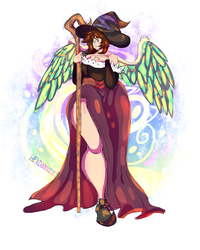 Size: 4000x5000 | Tagged: artist:hexdoodlez, clothes, cosplay, costume, crossdressing, dragon's crown, human, humanized, oc, oc:frost d. tart, oc only, safe, solo, sorceress, wide hips, winged humanization, wings