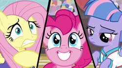 Size: 1280x720 | Tagged: common ground, fluttershy, pinkie pie, safe, screencap, spoiler:s09e06, varying degrees of want, wind sprint