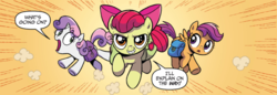 Size: 800x276 | Tagged: apple bloom, artist:brendahickey, comic, cutie mark crusaders, earth pony, idw, pegasus, pony, saddle bag, safe, scootaloo, spoiler:comic, spoiler:comicspiritoftheforest02, sweetie belle, unicorn