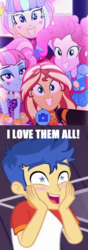 Size: 760x2152 | Tagged: safe, edit, edited screencap, screencap, flash sentry, kiwi lollipop, pinkie pie, sunset shimmer, supernova zap, equestria girls, equestria girls series, spring breakdown, sunset's backstage pass!, spoiler:eqg series (season 2), female, flash sentry gets all the mares, flash sentry gets all the waifus, flashimmer, k-lo, male, meme, pinkiesentry, postcrush, shipping, shipping domino, starry eyes, straight, su-z, waifu thief, wingding eyes