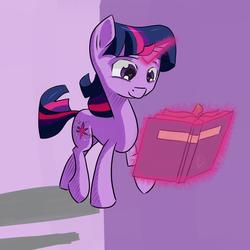 Size: 1024x1024   Tagged: safe, artist:chaosmalefic, twilight sparkle, pony, unicorn, book, female, glowing horn, horn, magic, reading, solo, telekinesis, unicorn twilight, walking