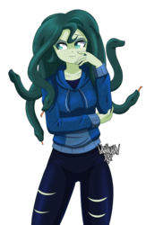 Size: 2600x4000 | Tagged: artist:danmakuman, clothes, equestria girls, female, hoodie, monster girl, oc, oc:medusa, oc only, safe, simple background, snake, solo, transparent background
