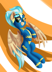 Size: 1080x1500 | Tagged: abstract background, artist:sadtrooper, clothes, female, flying, goggles, mare, misty fly, pegasus, pony, safe, signature, solo, spread wings, uniform, wings, wonderbolts, wonderbolts uniform