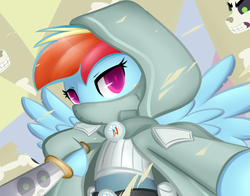 Size: 2800x2200 | Tagged: safe, artist:moondreamer16, rainbow dash, skellinore, pony, dungeons and discords, the break up breakdown, bipedal, dagger, dungeons and dragons, hoof hold, ogres and oubliettes, rainbow rogue, solo focus, spread wings, weapon, wings