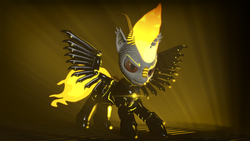 Size: 3840x2160 | Tagged: safe, artist:phoenixtm, oc, oc:delta firedash, dracony, hybrid, 3d, armor, dracony alicorn, god of fire, lens flare, looking at you, mane of fire, slit pupils, source filmmaker, tail of fire