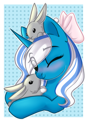 Size: 796x1102 | Tagged: alicorn, animal, artist:cloud-fly, female, mare, oc, oc:fleurbelle, one eye closed, pony, rabbit, safe, solo, wink