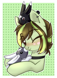 Size: 798x1096 | Tagged: animal, artist:cloud-fly, earth pony, female, mare, oc, oc:akane, one eye closed, pony, rabbit, safe, solo, wink