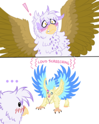 Size: 1152x1440 | Tagged: artist:ambergerr, behaving like a bird, courtship, derp, gilda, happy, my little pony: the movie, princess skystar, safe, screech, screeching