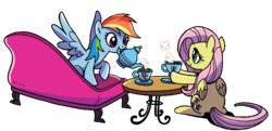 Size: 1120x540 | Tagged: artist:brendahickey, background removed, couch, cropped, cup, cute, duo, edit, female, fluttershy, food, idw, mouth hold, pegasus, pony, rainbow dash, safe, simple background, spoiler:comic, spoiler:comicspiritoftheforest02, table, tea, teapot, transparent background