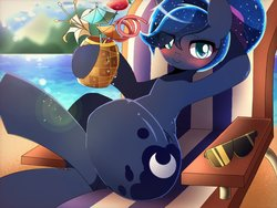 Size: 1024x768   Tagged: safe, artist:erufi, princess luna, alicorn, pony, between dark and dawn, alternate hairstyle, blushing, crossed legs, cute, drink, drinking straw, eye clipping through hair, female, food, looking at you, lunabetes, mare, pineapple, scene interpretation, smiling, solo, straw, sunglasses, we don't normally wear clothes