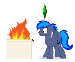Size: 8138x6713 | Tagged: artist:blue-vector, cooking, fire, male, oc, oc only, oc:proffy floyd, pegasus, plumbob, pony, safe, stallion, stove, the sims