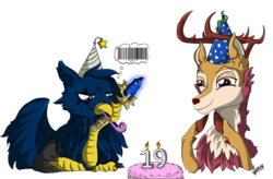 Size: 2567x1684 | Tagged: artist:ghouleh, barcode, birthday, cake, deer, dota 2, fluffy, food, griffon, hat, oc, oc:eid, oc only, oc:wisteria evergreen, party hat, safe, scepter