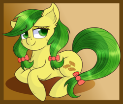 Size: 3000x2553   Tagged: safe, artist:rainbowtashie, apple fritter, earth pony, pony, apple family member, bow, cheek fluff, chest fluff, cute, ear fluff, female, hair bow, mare, pigtails, redraw, simple background, smiling, solo, twintails