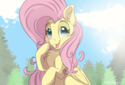 Size: 2039x1378 | Tagged: artist:meowmavi, chest fluff, cute, ear fluff, female, fluttershy, mare, open mouth, pegasus, pony, safe, shyabetes, tree