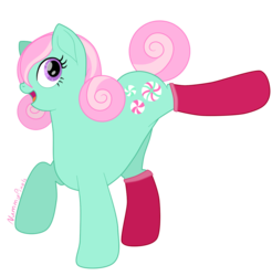 Size: 1024x1039 | Tagged: safe, artist:nummypixels, minty, earth pony, pony, g3, clothes, female, g3 to g4, generation leap, mare, open mouth, signature, simple background, socks, solo, transparent background