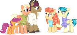 Size: 9604x4413 | Tagged: safe, artist:suramii, aunt holiday, auntie lofty, mane allgood, scootaloo, snap shutter, earth pony, pegasus, pony, the last crusade, absurd resolution, clothes, family, female, filly, male, mare, scootaloo's parents, simple background, smiling, stallion, transparent background, vector, wholesome