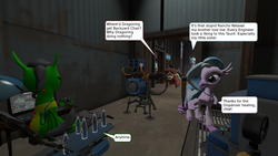 Size: 1280x720   Tagged: safe, artist:derek the metagamer, ocellus, silverstream, yona, oc, oc:emerald rook, changedling, changeling, dragon, yak, 2fort, 3d, baseball bat, comic, dragoning, engineer, heavy weapons guy, medic, minigun, ocellus is not amused, rancho relaxo, scout, source filmmaker, team fortress 2, thumbs up