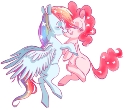Size: 480x424 | Tagged: artist:pinkablue, female, lesbian, mare, pinkiedash, pinkie pie, pony, rainbow dash, safe, shipping, smiling