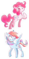 Size: 700x1420 | Tagged: artist:pinkablue, cute, dashabetes, diapinkes, female, mare, pinkie pie, pony, rainbow dash, safe, smiling
