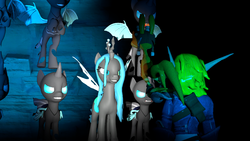Size: 1280x720 | Tagged: safe, artist:kayman13, queen chrysalis, changeling, changeling queen, 3d, cave, confrontation, crossover, daxter, fangs, female, grin, hissing, insect wings, jak, jak and daxter, jak ii: renegade, smiling, source filmmaker, wings