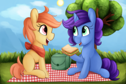 Size: 2400x1600 | Tagged: safe, artist:illusion, oc, oc only, oc:amber rose, oc:emerald eclipse, earth pony, pony, unicorn, backpack, female, food, grass field, picnic, picnic blanket, request, sandwich, tree