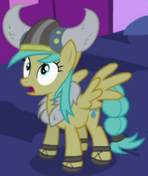 Size: 293x348 | Tagged: background pony, clothes, costume, cropped, female, helmet, horned helmet, luna eclipsed, mare, nightmare night costume, outfit catalog, pegasus, pony, safe, screencap, solo, spread wings, sunshower raindrops, viking, viking helmet, wings