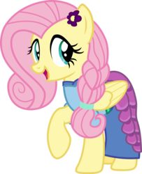 Size: 4000x4920 | Tagged: alternate hairstyle, artist:pilot231, braid, clothes, concept, cute, dress, female, flower on ear, flower petal dress, fluttershy, mare, pegasus, pony, safe, scarf, shyabetes, simple background, skirt, solo, transparent background, vector