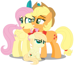 Size: 570x508 | Tagged: applejack, appleshy, artist:awoomarblesoda, female, filly, fluttershy, lesbian, magical lesbian spawn, oc, oc:apple juice, offspring, parent:applejack, parent:fluttershy, parents:appleshy, pegasus, pony, safe, shipping, simple background, transparent background