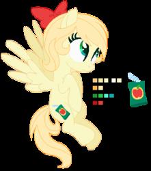 Size: 399x452   Tagged: safe, artist:awoomarblesoda, oc, oc:apple juice, pegasus, pony, female, magical lesbian spawn, mare, offspring, parent:applejack, parent:fluttershy, parents:appleshy, reference sheet, simple background, solo, transparent background