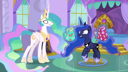 Size: 1920x1080 | Tagged: safe, screencap, princess celestia, princess luna, alicorn, pony, between dark and dawn, bedroom, canterlot castle, clothes, cropped, crown, cute, didn't see that comin', duo, ethereal mane, ethereal tail, excited, faic, fake smile, female, flowing mane, flowing tail, folded wings, hawaiian shirt, hoof shoes, jewelry, levitation, lip bite, lunabetes, magic, mare, prancing, princess celestia's bedroom, regalia, royal sisters, shirt, shrunken pupils, siblings, sisters, smiling, telekinesis, trotting, trotting in place, unsure, wings