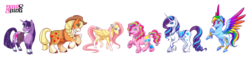 Size: 1600x401 | Tagged: safe, artist:geminineart, applejack, fluttershy, pinkie pie, rainbow dash, rarity, twilight sparkle, earth pony, pegasus, pony, unicorn, leak, spoiler:g5, alternate cutie mark, applejack (g5), belt, blaze (coat marking), braid, coat markings, colored hooves, colored wings, cowboy hat, discussion in the comments, female, flower, flower in hair, fluttershy (g5), g5, glasses, goggles, hat, jewelry, line-up, looking at you, mane six, mane six (g5), mare, multicolored wings, pinkie pie (g5), rainbow dash (g5), rainbow wings, rarity (g5), redesign, regalia, saddle bag, simple background, smiling, socks (coat marking), spread wings, transparent background, twilight sparkle (g5), unicorn twilight, unshorn fetlocks, watermark, wings