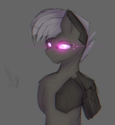 Size: 1188x1286 | Tagged: artist:al1-ce, augmented, chromatic aberration, cyberpunk, derpibooru exclusive, glowing eyes, oc, oc only, pony, project decadence, safe, sketch, solo