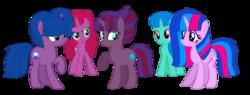 Size: 1754x664 | Tagged: safe, artist:徐詩珮, oc, oc:betty pop, oc:fire shadow, oc:spring legrt, oc:storm lightning, oc:vesty sparkle, alicorn, pony, unicorn, alicorn oc, base used, female, half-siblings, magical lesbian spawn, mare, next generation, offspring, parent:flash sentry, parent:glitter drops, parent:spring rain, parent:stygian, parent:tempest shadow, parent:twilight sparkle, parents:flashlight, parents:glittershadow, parents:springdrops, parents:springshadow, parents:tempgian, siblings, simple background, sisters, transparent background